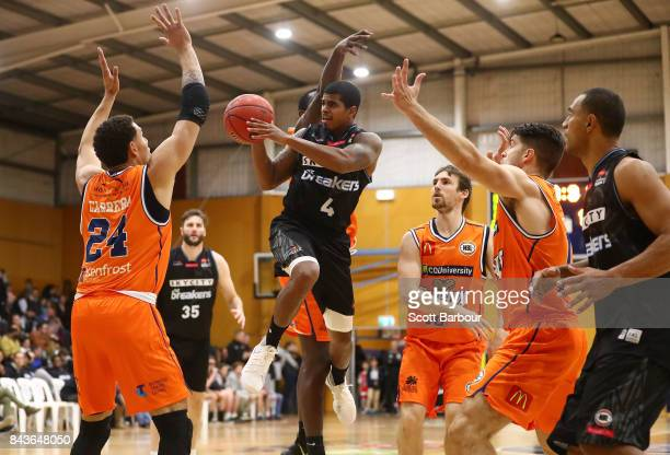 Edgar Sosa of the Breakers drives to the basket during the 2017 NBL Blitz preseason match between Cairns Taipans and the New Zealand Breakers at...