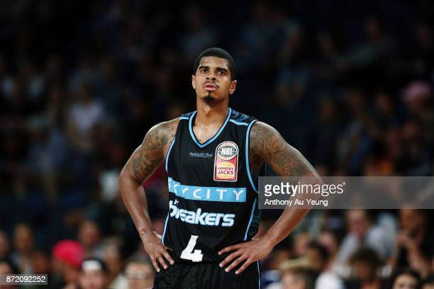 Edgar Sosa of the Breakers looks on during the round six NBL match between the New Zealand Breakers and the Perth Wildcats at Spark Arena on November...