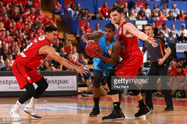 Edgar Sosa of the Breakers looks to pass the ball during the round six NBL match between the Perth Wildcats and the New Zealand Breakers at Perth...