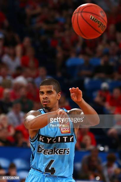 Edgar Sosa of the Breakers passes the ball during the round six NBL match between the Perth Wildcats and the New Zealand Breakers at Perth Arena on...
