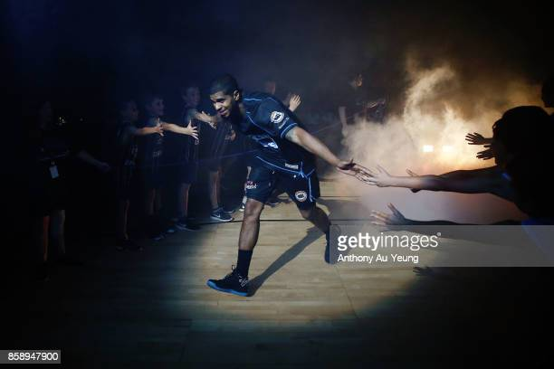 Edgar Sosa of the Breakers runs out during the players introduction during the round one NBL match between the New Zealand Breakers and the Cairns...