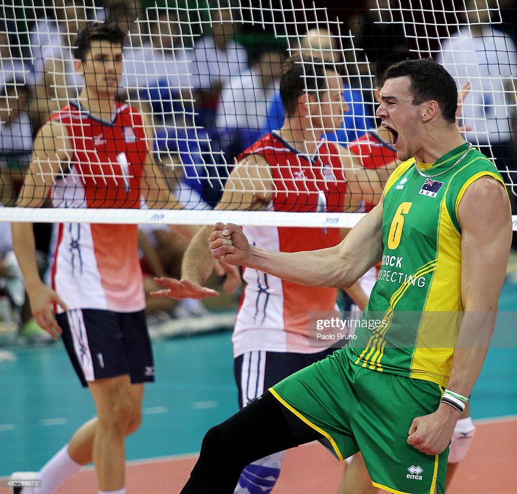 Edgar Thomas of Australia celebrates during the FIVB World League Final Six match between United States and Australia at Mandela Forum on July 17, 2014 in Florence, Italy.