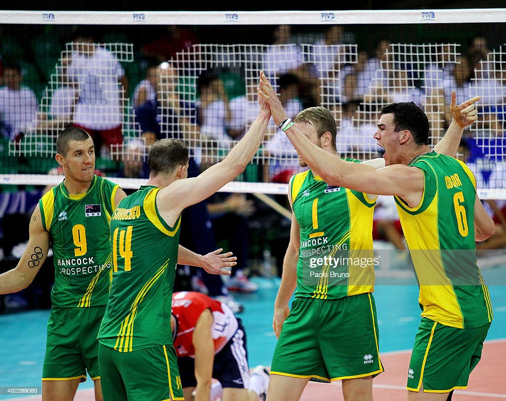Edgar Thomas #6 with his teammates of Australia celebrate during the FIVB World League Final Six match between United States and Australia at Mandela Forum on July 17, 2014 in Florence, Italy.
