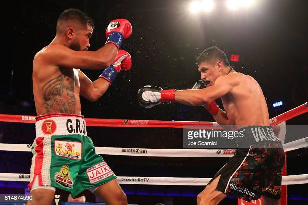 Edgar Valerio throws a punch to Jairo Ochoa during LA Fight Club at Belasco Theatre on July 14 2017 in Los Angeles California