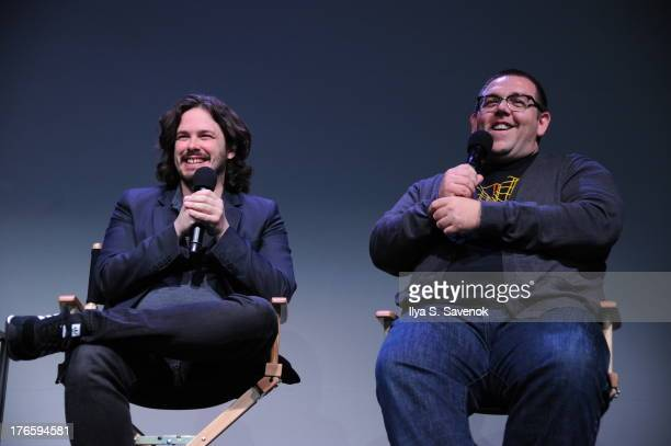 Edgar Wright and Nick Frost attend Meet The Filmmakers 'The World's End' at Apple Store Soho on August 15 2013 in New York City