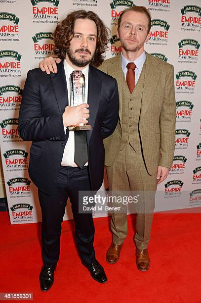 Edgar Wright and Simon Pegg accepting the award for Best British Film for 'The World's End' pose in the press room at the Jameson Empire Awards 2014...