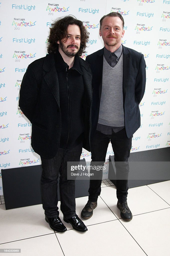 Edgar Wright and Simon Pegg attend the First Light Awards 2013 at The Odeon Leicester Square on March 19, 2013 in London, England.