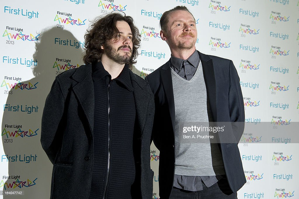 Edgar Wright and Simon Pegg attends the First Light Awards at Odeon Leicester Square on March 19, 2013 in London, England.
