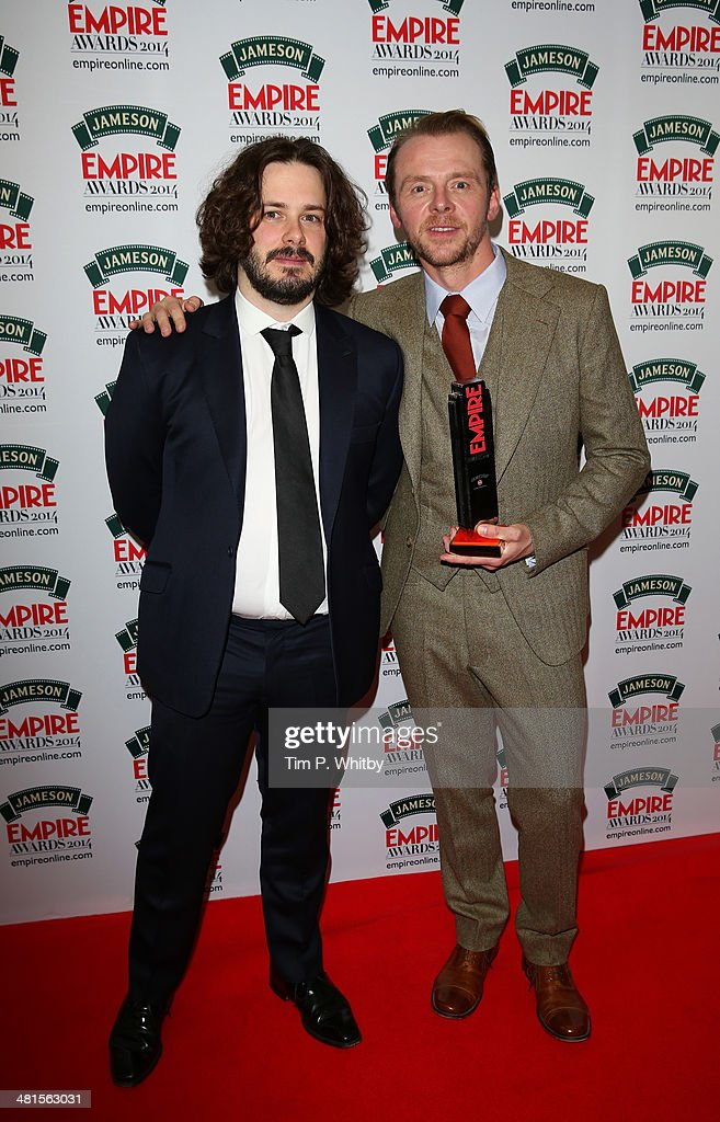 <a gi-track='captionPersonalityLinkClicked' href=/galleries/search?phrase=Edgar+Wright&family=editorial&specificpeople=2194043 ng-click='$event.stopPropagation()'>Edgar Wright</a> (L) and <a gi-track='captionPersonalityLinkClicked' href=/galleries/search?phrase=Simon+Pegg&family=editorial&specificpeople=206280 ng-click='$event.stopPropagation()'>Simon Pegg</a>, with the award for Best British Film for 'The World's End' during the Jameson Empire Awards 2014 at the Grosvenor House Hotel on March 30, 2014 in London, England. Regarded as a relaxed end to the awards show season, the Jameson Empire Awards celebrate the film industry's success stories of the year with winners being voted for entirely by members of the public. Visit empireonline.com/awards2014 for more information.