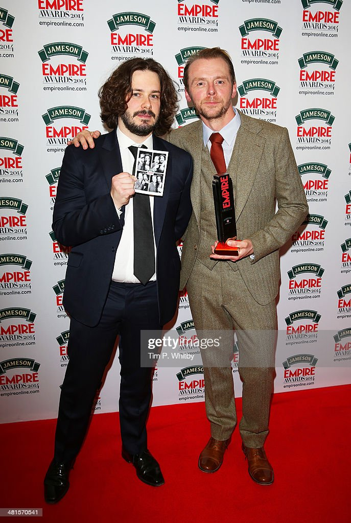 Edgar Wright (L) and Simon Pegg, with the award for Best British Film for 'The World's End' during the Jameson Empire Awards 2014 at the Grosvenor House Hotel on March 30, 2014 in London, England. Regarded as a relaxed end to the awards show season, the Jameson Empire Awards celebrate the film industry's success stories of the year with winners being voted for entirely by members of the public. Visit empireonline.com/awards2014 for more information.