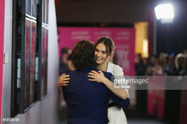 Edgar Wright greets Lily James ahead of the Baby Driver Australian Premiere at Event Cinemas George Street on July 12 2017 in Sydney Australia