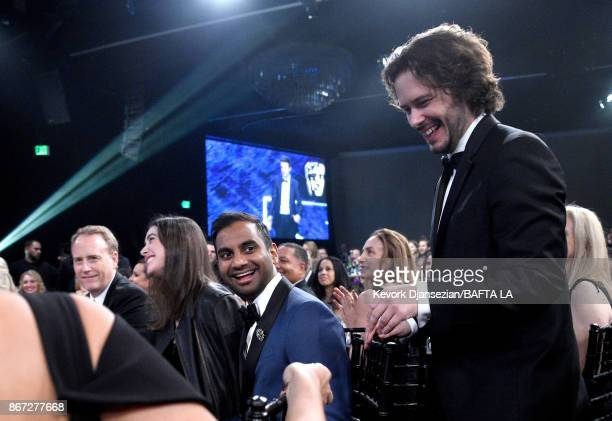 Edgar Wright presents Charlie Chaplin Britannia Award for Excellence In Comedy presented by Jaguar Land Rover to Aziz Ansari at the 2017 AMD British...