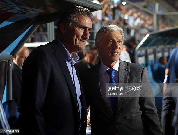 Edgardo Bauza coach of Argentina and Jose Pekerman coach of Colombia pose for pictures during a match between Argentina and Colombia as part of FIFA...