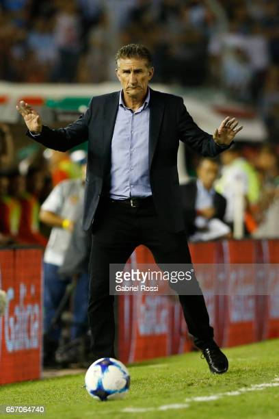 Edgardo Bauza coach of Argentina gestures during a match between Argentina and Chile as part of FIFA 2018 World Cup Qualifiers at Monumental Stadium...