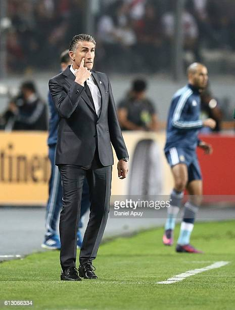 Edgardo Bauza coach of Argentina gestures during a match between Peru and Argentina as part of FIFA 2018 World Cup Qualifiers at Nacional Stadium on...
