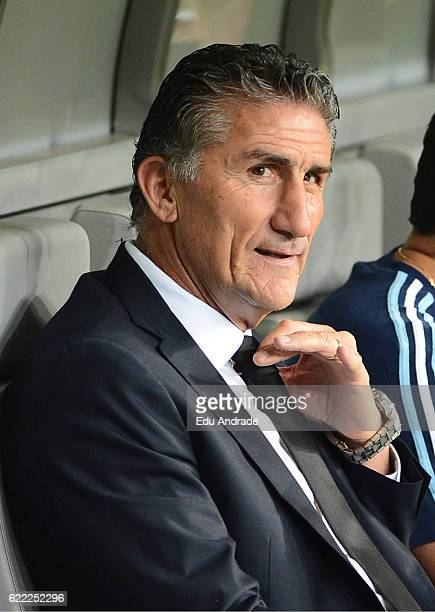 Edgardo Bauza coach of Argentina gestures prior a match between Argentina and Brazil as part of FIFA 2018 World Cup Qualifiers at Mineirao Stadium on...