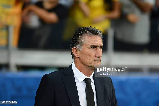 Edgardo Bauza coach of Argentina looks on during a match between Argentina and Brazil as part of FIFA 2018 World Cup Qualifiers at Mineirao Stadium...