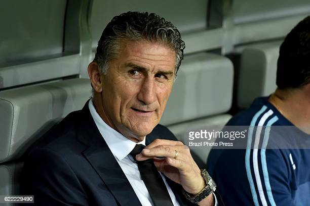Edgardo Bauza coach of Argentina looks on prior a match between Argentina and Brazil as part of FIFA 2018 World Cup Qualifiers at Mineirao Stadium on...