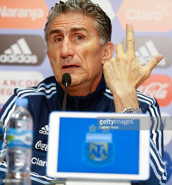 Edgardo Bauza coach of Argentina speaks during a press conference at Argentine Football Association 'Julio Humberto Grondona' training camp on...