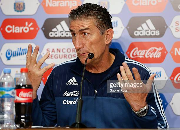 Edgardo Bauza coach of Argentina talks during Argentina Press Conference at Julio Humberto Grondona Campus on September 16 2016 in Ezeiza Argentina