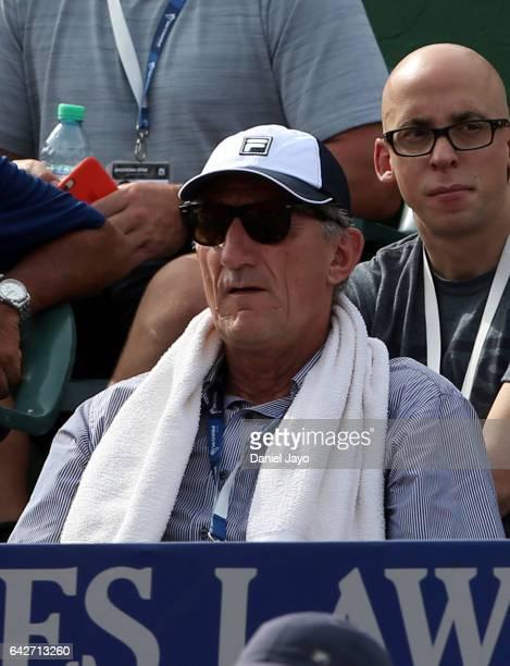 Edgardo Bauza coach of the Argentina's national football team watches a semifinal match between Kei Nishikori of Japan and Carlos Berlocq of...