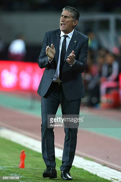 Edgardo Bauza head coach of Argentina reacts during a match between Venezuela and Argentina as part of FIFA 2018 World Cup Qualifiers at...