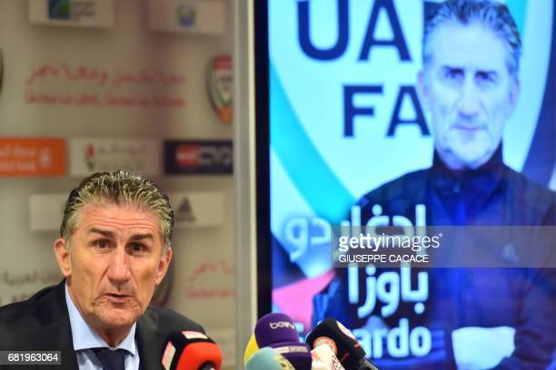 Edgardo Bauza the new Argentinian coach of UAE's national team gives a press conference following the announcement of his appointment in Dubai on May...