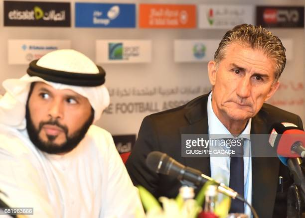 Edgardo Bauza the new Argentinian coach of UAE's national team gives a press conference with the President of UAE Football Association Marwan bin...