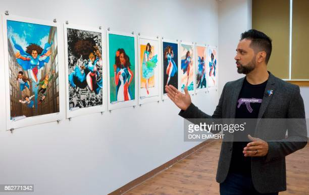 Edgardo MirandaRodriguez writer and creator of the bestselling graphic novel La Borinquena talks about his project during an interview at the Casita...