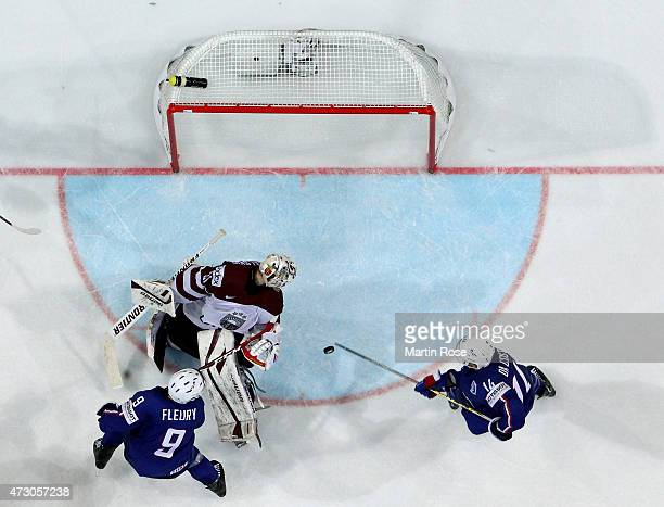 Edgars Masalskis goaltender of Latvia tends net against France during the IIHF World Championship group A match between Latvia and France at o2 Arena...