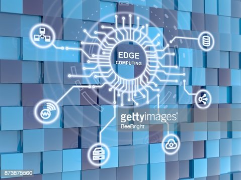 Edge computing circuit circle on blue cube background : Stock Photo