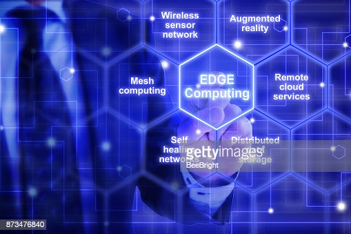 Edge computing hexagon grid with keywords from an IT expert : Stock Photo