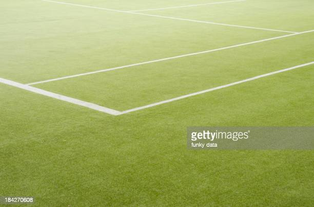 Edge of a grass tennis field