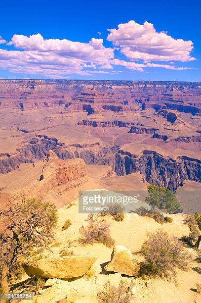 Edge of South Rim of Grand Canyon National Park in mid-summer in Arizona