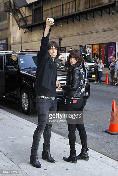 Edgey Pires and Delila Paz of The Last Internationale leave the 'Late Show with David Letterman' at Ed Sullivan Theater on August 27 2014 in New York...
