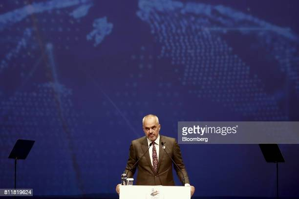 Edi Rama Albania's prime minister speaks during the 22nd World Petroleum Congress in Istanbul Turkey on Monday July 10 2017 Oilfell from the lowest...
