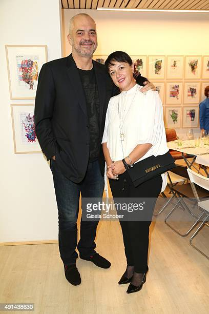 Edi Rama Prime Minister of Albania and his wife Linda Rama during the Edi Rama Daily Drawings exhibition preview at Galerie Kampl on September 12...