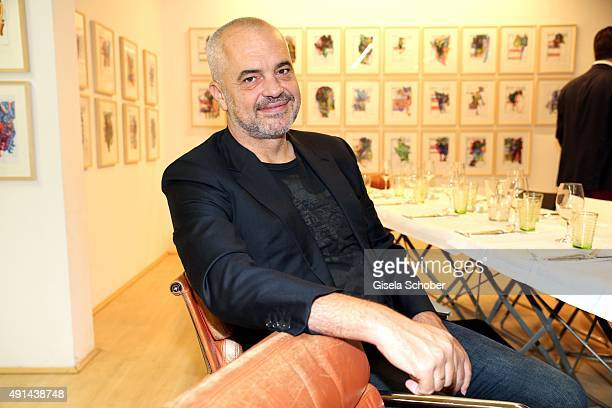 Edi Rama Prime Minister of Albania during the Edi Rama Daily Drawings exhibition preview at Galerie Kampl on September 12 2015 in Munich Germany