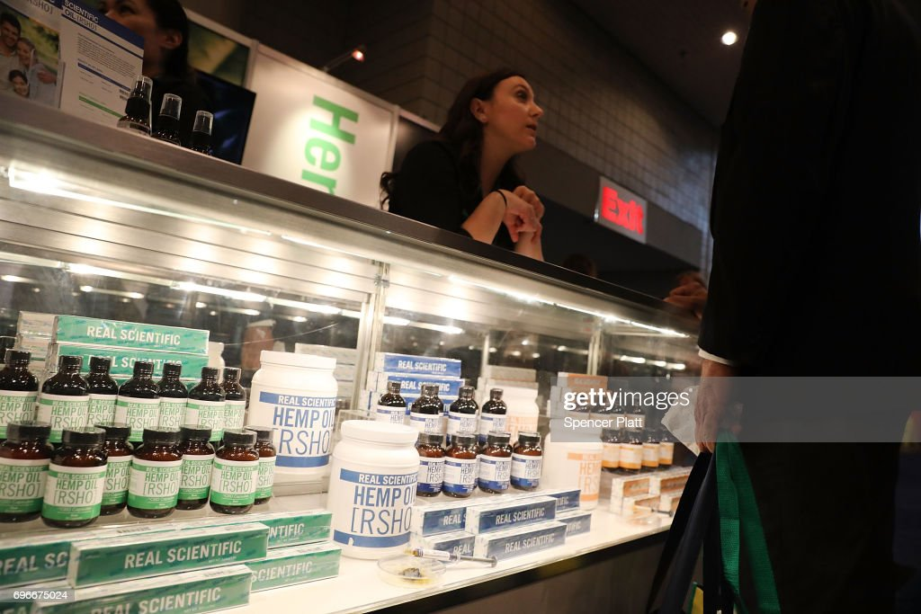 Edible marijuana infused product s by Dixie are displayed at the Cannabis World Congress Conference on June 16, 2017 in New York City. Billed as 'the leading trade show and conference for the legalized cannabis, medical marijuana, and industrial hemp industries,' the 4th annual conference brings together dozens of both small and large businesses involved in the growing hemp and marijuana market.