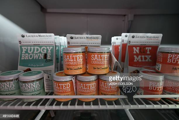 Edible products are seen inside a refrigerator at Oregon's Finest a marijuana dispensary in Portland Oregon on October 4 2015 As of October 1 2015 a...