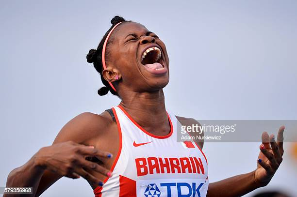 Edidiong Ofonime Odiong from Bahrain celebrates winning a gold medal in women's 200 metres during the IAAF World U20 Championships at the Zawisza...