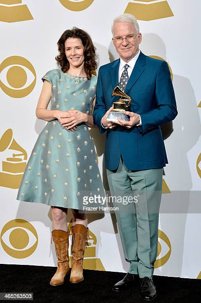 Edie Brickell Steve Martin winners of Best American Roots Song for 'Love Has Come For You' pose in the press room during the 56th GRAMMY Awards at...
