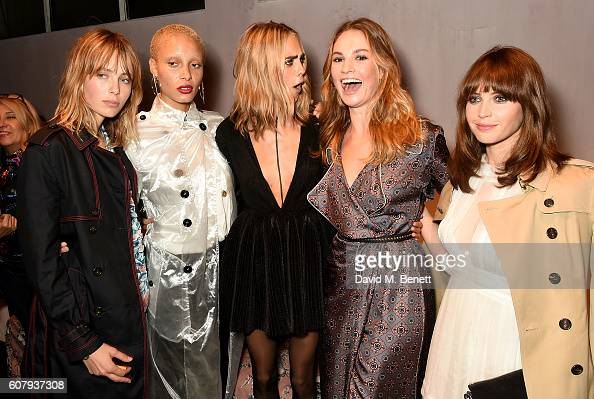 Edie Campbell Adwoa Aboah Cara Delevingne Lily James and Felicity Jones wearing Burberry at the Burberry September 2016 show during London Fashion...