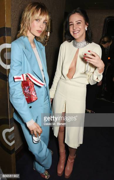 Edie Campbell and Eliza Cummings attend the Edie Campbell and Kurt Geiger Flash dinner at Loulou's on March 22 2017 in London England