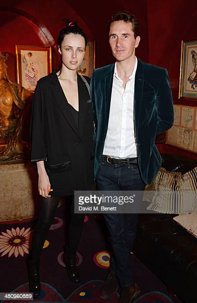 Edie Campbell and Otis Ferry attend a private dinner hosted by Alice Naylor Leyland to celebrate the launch of 'Mrs Alice In Her Palace' at Annabel's...