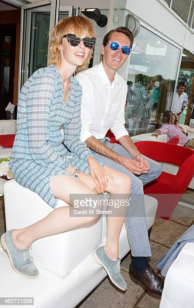 Edie Campbell and Otis Ferry attend Audi International at Guards Polo Club near Windsor to support England as it faces Argentina for the Coronation...