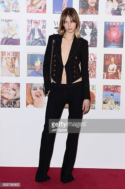 Edie Campbell arrives for the Gala to celebrate the Vogue 100 Festival at Kensington Gardens on May 23 2016 in London England