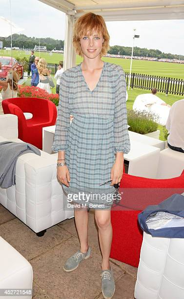 Edie Campbell attends Audi International at Guards Polo Club near Windsor to support England as it faces Argentina for the Coronation Cup on July 26...