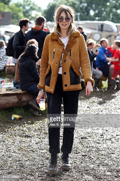 Edie Campbell wearing Coach attends the Glastonbury Festival at Worthy Farm Pilton on June 24 2016 in Glastonbury England