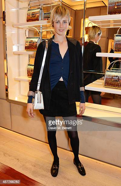 Edie Campbell attends the Roger Vivier 'The Perfect Pair' Frieze cocktail celebrating Ambra Medda 'Miss Viv' at the Roger Vivier Boutique on October...